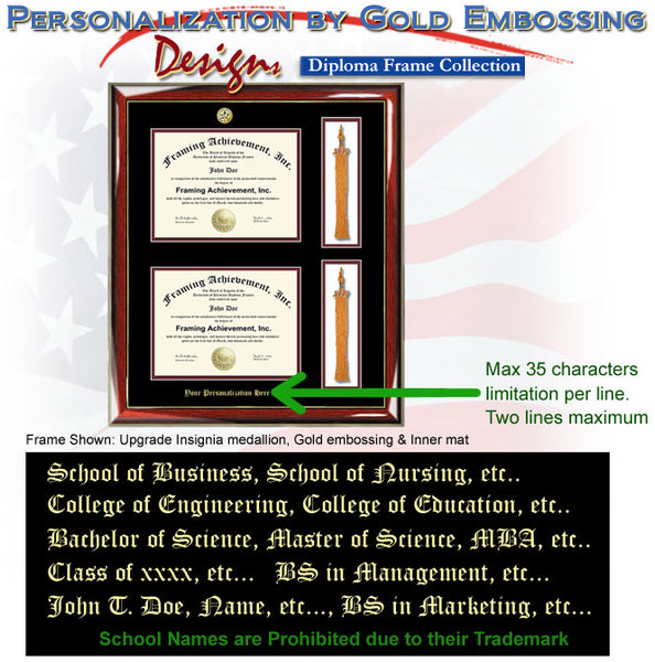 Embossed Graduation Double Diploma Tassel University Frame