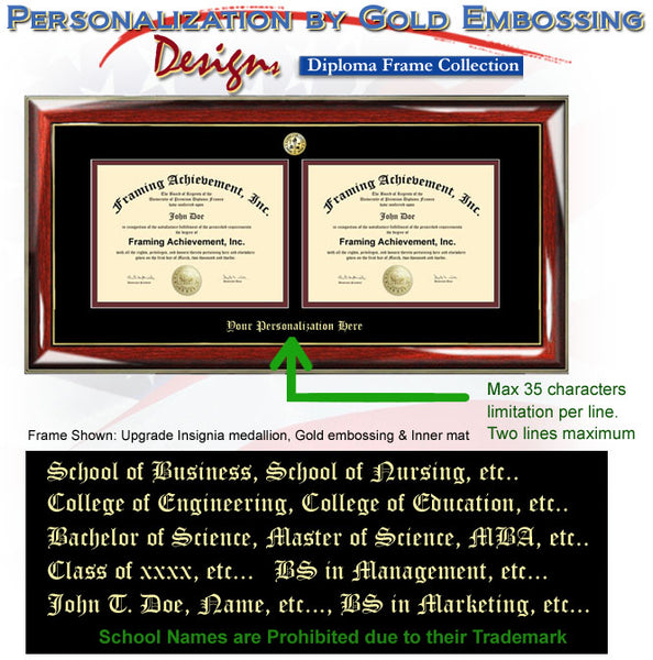 Embossed Double Degree College Frame University Plaque