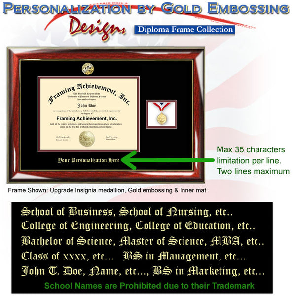 Graduation Diploma Frame with Collegiate Medallion Box