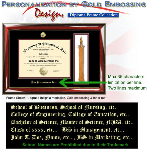 Graduation Tassel College Diploma Frame Gold Embossing