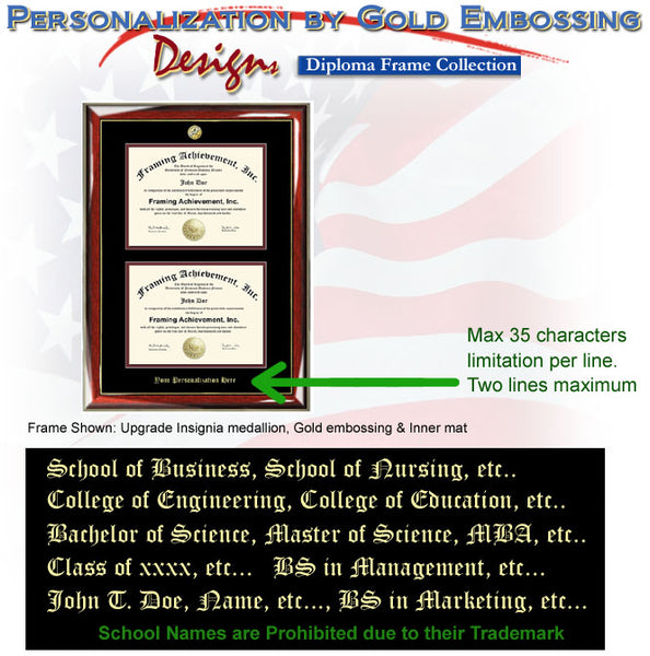 University Double Diploma Frame Embossing