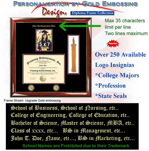 Embossed College 5 x 7 Picture Diploma Tassel Frame