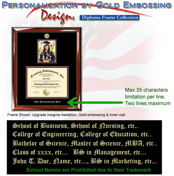 University Embossed Diploma Frame with Graduate Picture