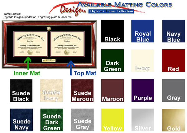Double Certificate Frame Matting Colors