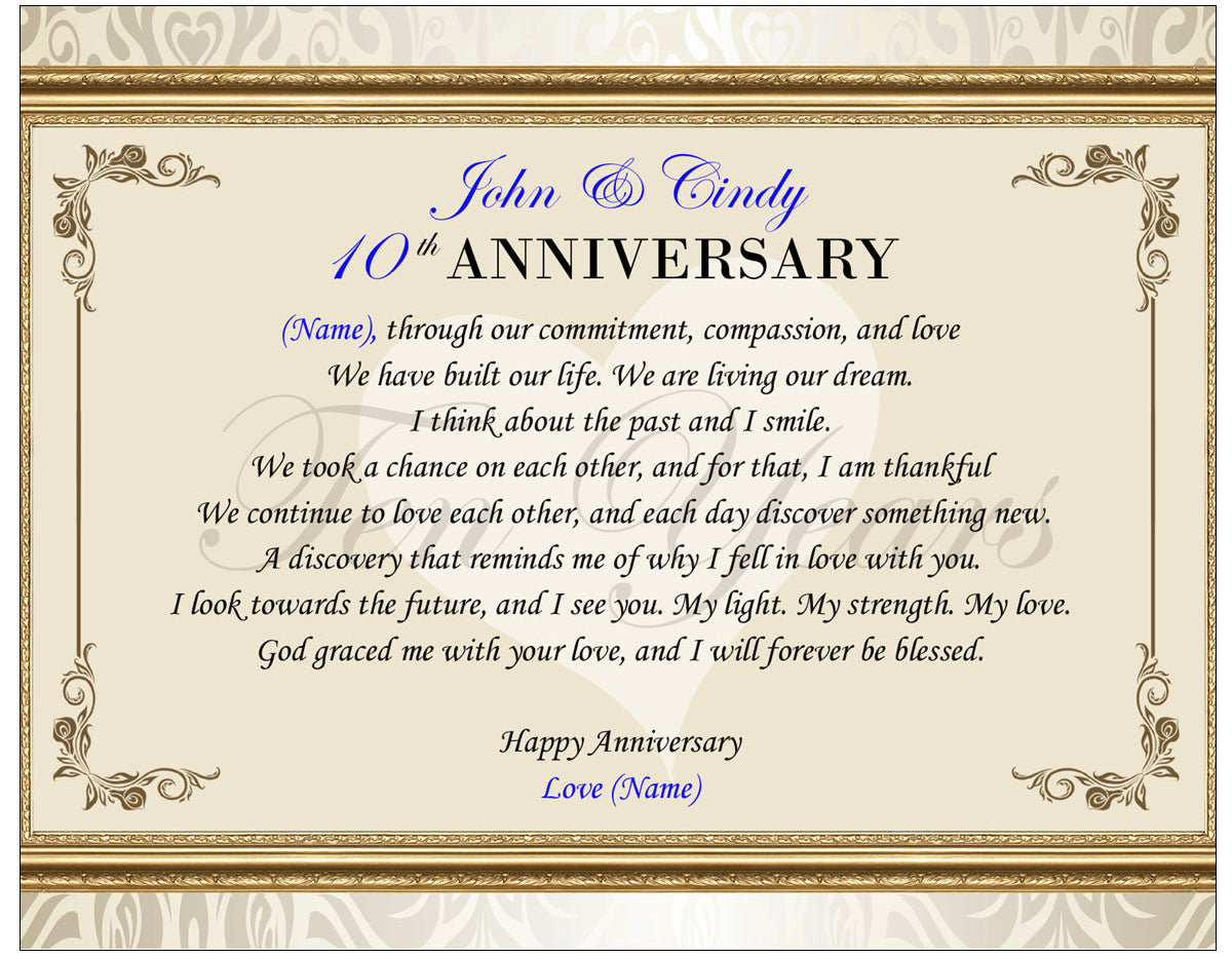 Unique Anniversary Gifts Of Poetry Photo Frame Poem Plaque
