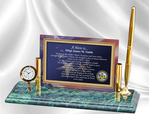 Army Seal Military Clock Gift with Pen for Soldier