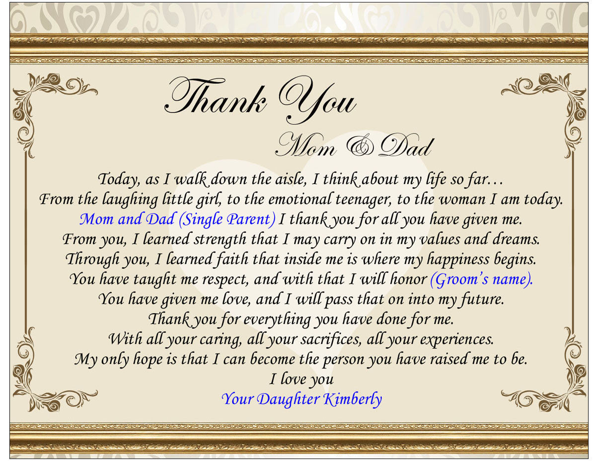 Thank Letter To Parents For Wedding: Wedding Gifts For Parents From Son Or Daughter On Wedding