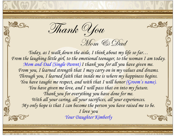 Thank You Gifts For Parents At Wedding: Wedding Gifts For Parents From Son Or Daughter On Wedding