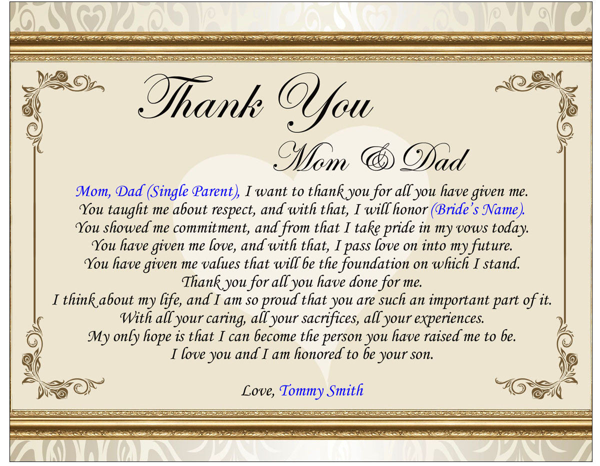 Thank Letter To Parents For Wedding: Thank You Wedding Poetry Gift Picture Frame Groom Bride