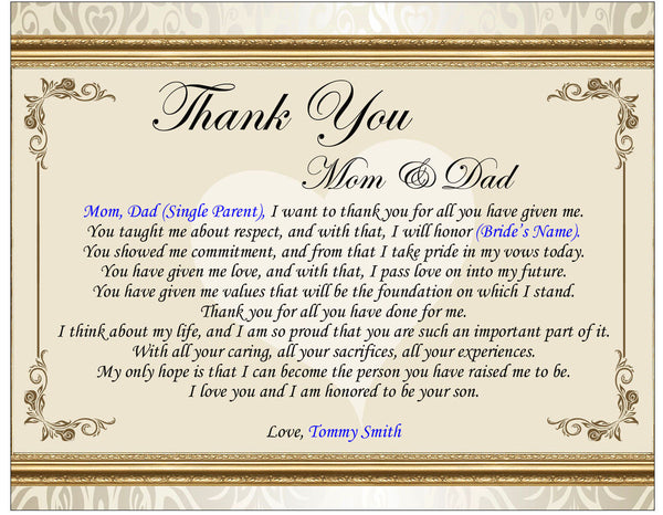 Gifts For Parents For Wedding Thank You: Thank You Wedding Poetry Gift Picture Frame Groom Bride