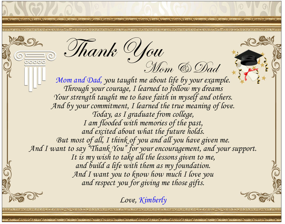Poetry Thank You Parent Graduation Gift Clock Marble Pen ...