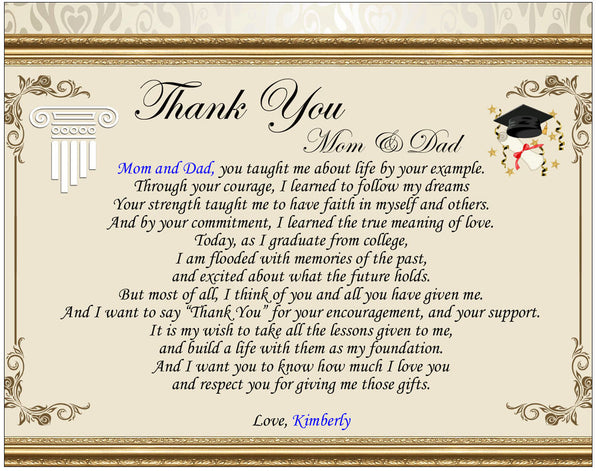 poetry thank you parent graduation gift clock marble pen