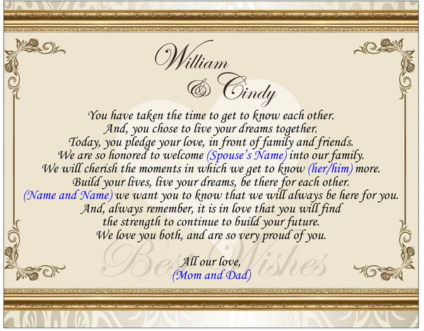 Daughter Son In Law Personalized Poem Christmas Gift: Personalized Gift For Daughter In Law And Groom On Wedding Day