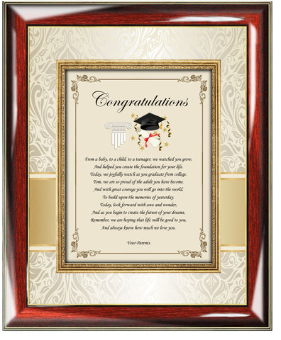 Congratulation Graduation Poetry Gift Frame for him or her