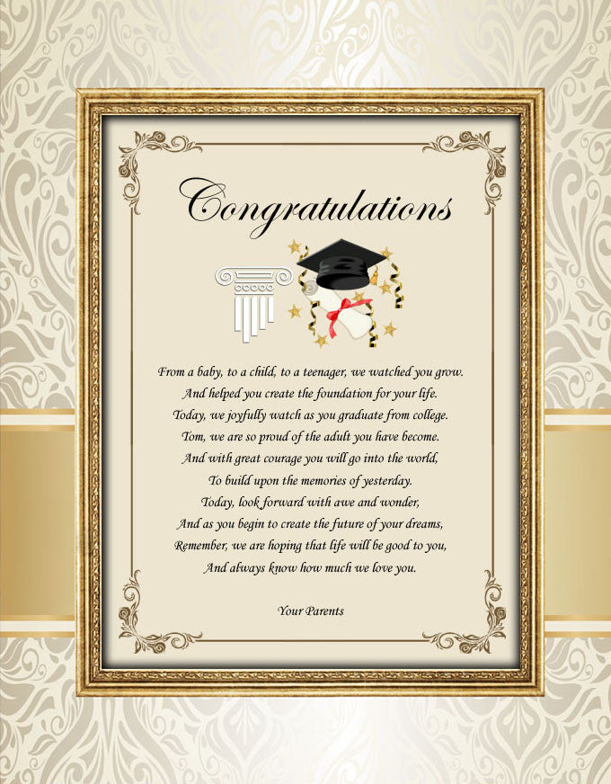Graduation gift poem ... & Congratulation College School Graduation Gift Graduate Parents Mom Dad