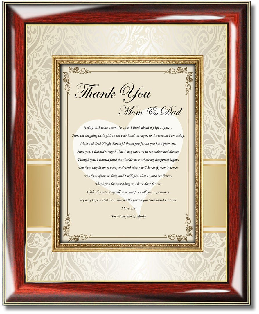 Wedding gift ideas for parents from bride and groom mother father