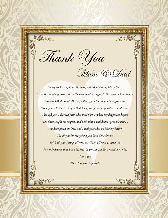 Personalized Wedding Thank You Gift Mom Dad From Bride