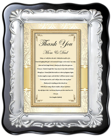 parents wedding gift thank you plaque