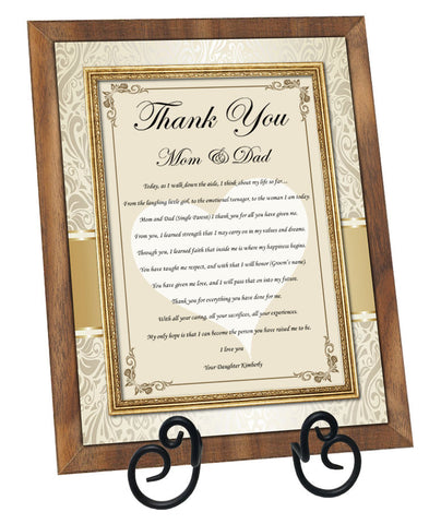 Thank you parents wedding plaque