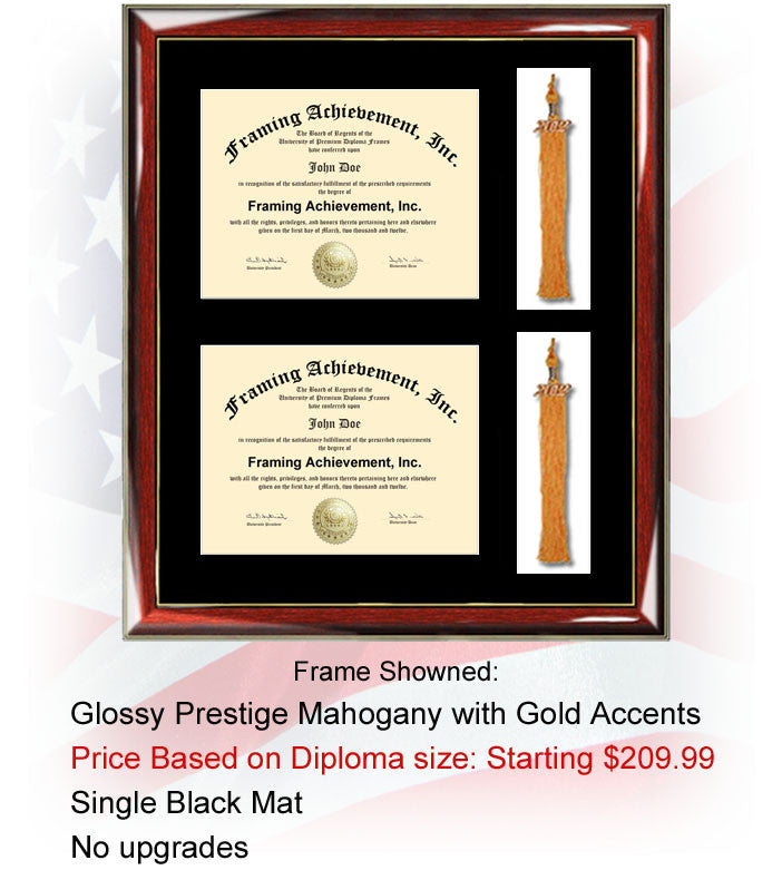 Dual certificate frame double diploma frame for your double major