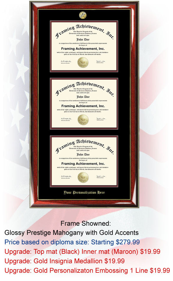 Triple Certificate Frame and University Diploma Frame Document Plaque