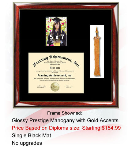 Tassle Diploma Frame with Graduation 5 x 7 Portrait Photo