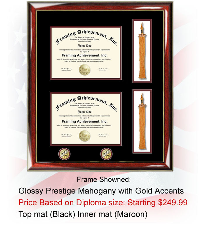Double college diploma frame two dual certificate university diploma
