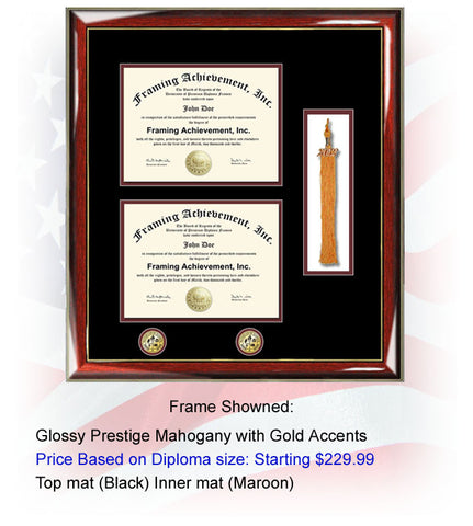 Double Diploma Frame with Graduation Tassel