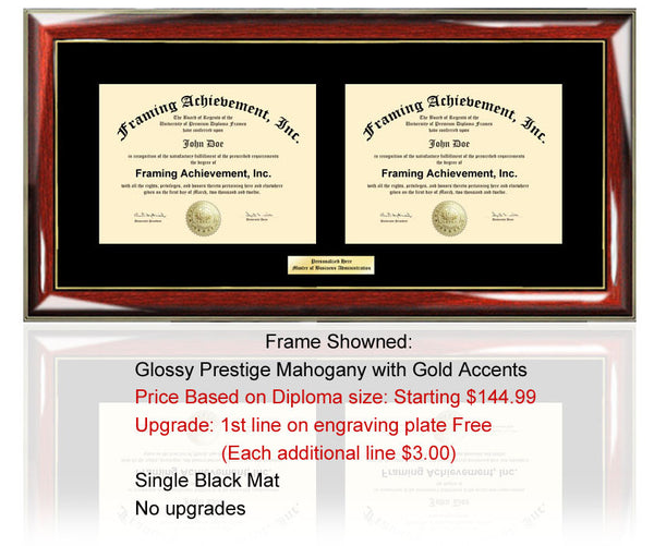 Dual Diploma Frame Double Document Double Degree Plaque