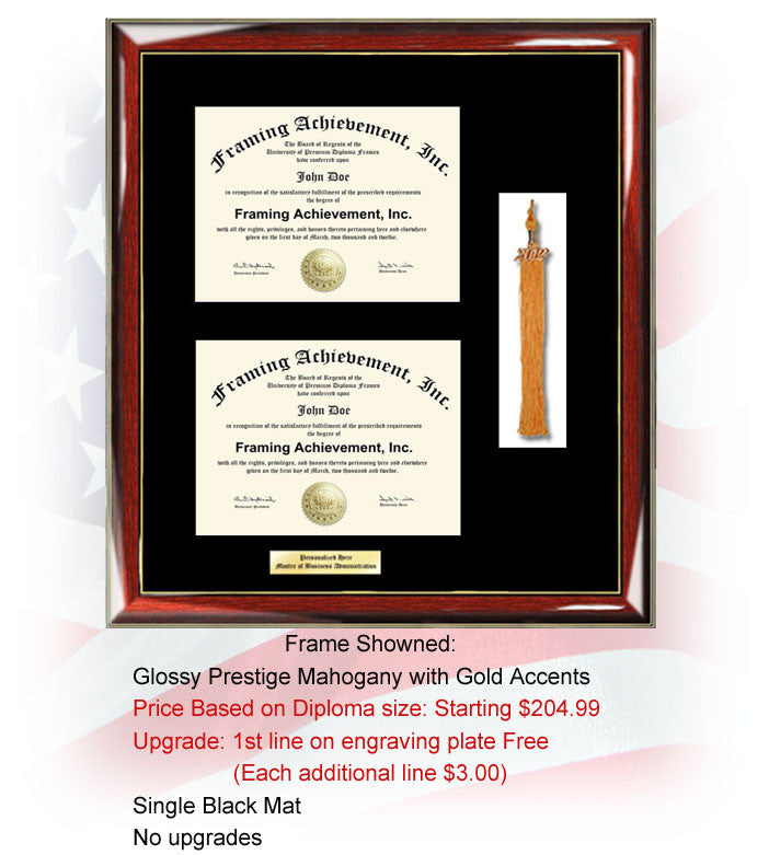 Diploma Framing College Dual Two Degree Double Certificate Frame