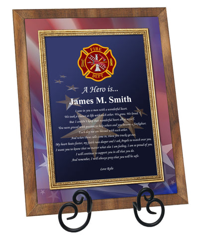 Fire Fighter Poetry Walnut Plaque