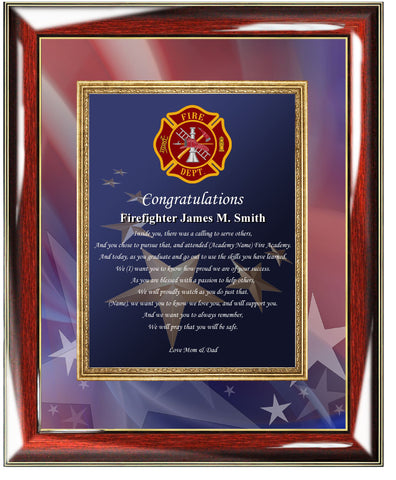 Firefighter graduation plaque