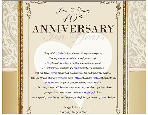 30th Wedding Anniversary Gifts For Mum And Dad: Parents Anniversary Gift Wedding Personalized Present