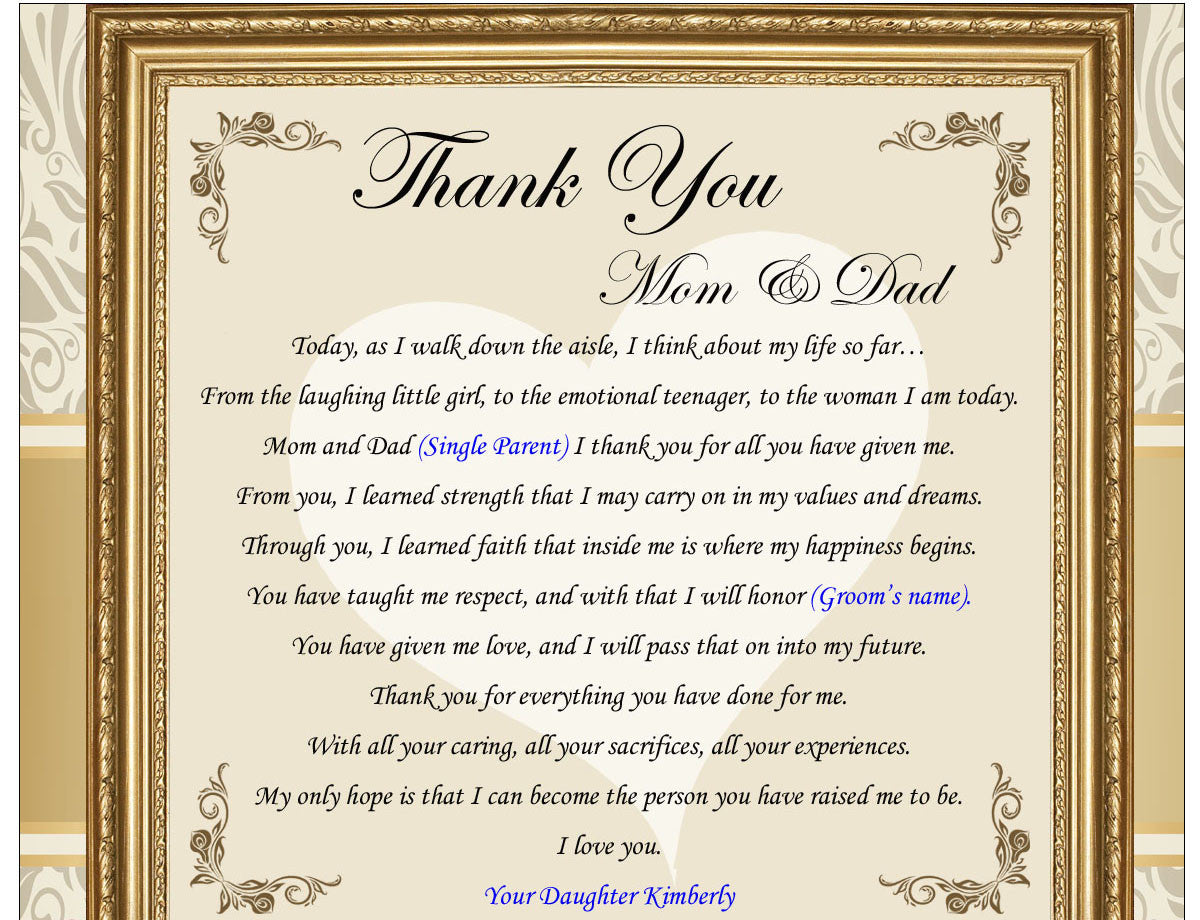 Thank you gifts for parents on wedding day from bride groom daughter