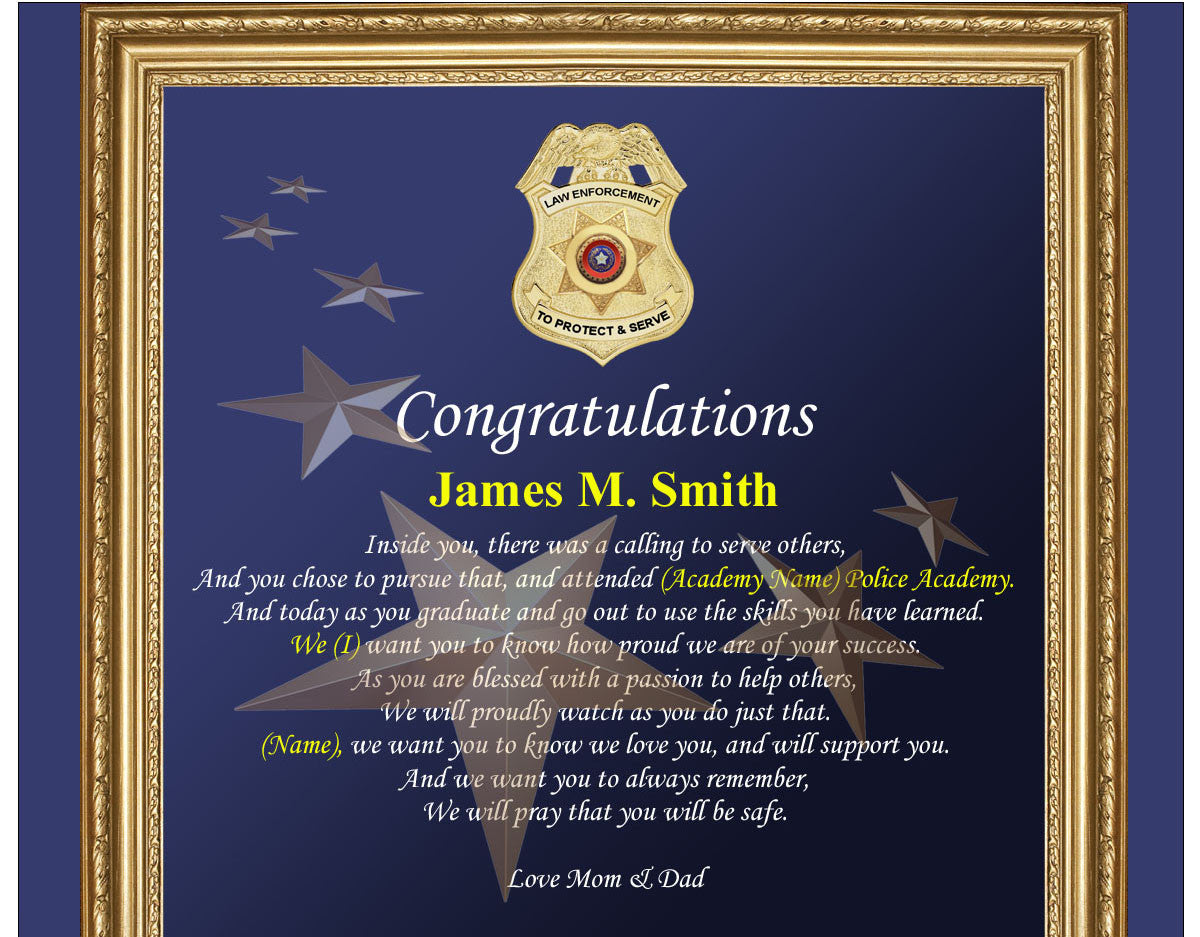 Sheriff And Police Academy Graduation Gift Plaque Law Enforcement