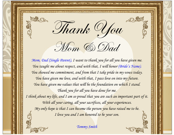 Thank You Gifts For Parents At Wedding: Thank You Gifts For The Parents Bride & Groom Mom Dad Frame