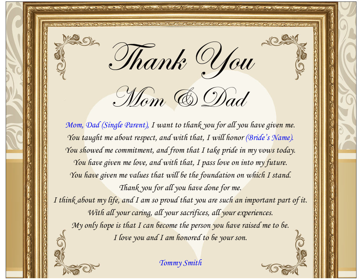 Thank you mom dad parents wedding gift picture frame from bride groom thank you parents wedding poem thanks mom dad groom bride altavistaventures Images