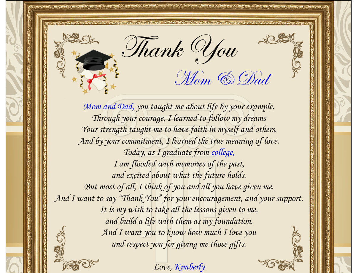 Thank You Graduation Gifts Frame Mom Dad College Parents
