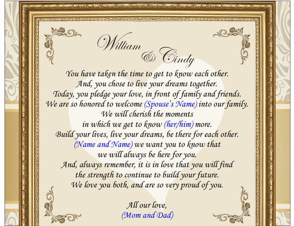 Daughter Son In Law Personalized Poem Christmas Gift: Wedding Gift Ideas For Future Son And Daughter In Law