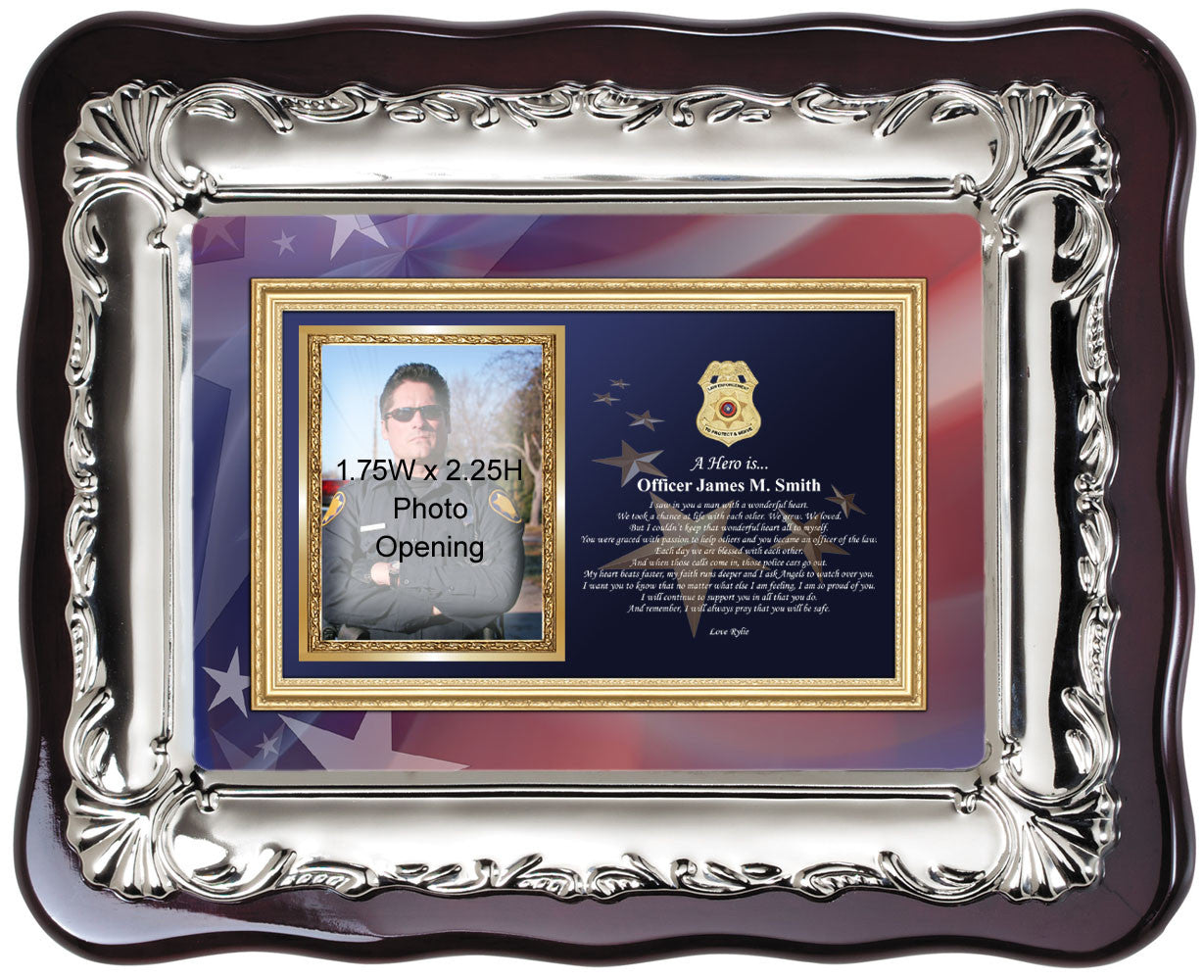 Sheriff and police officer picture frame law enforcement photo plaque