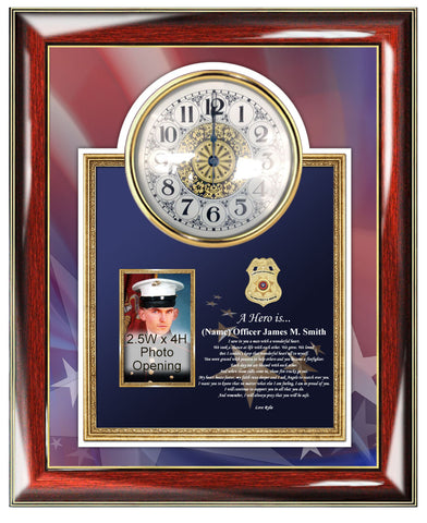 Law Enforcement Gift Police Sheriff Picture Frame Clock