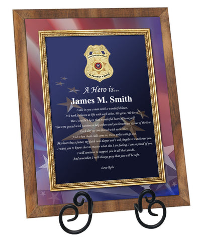 Law Enforcement Poetry Walnut Plaque