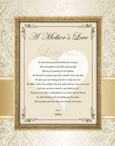 11x14 Unframed Matted Personalized Mother Poem