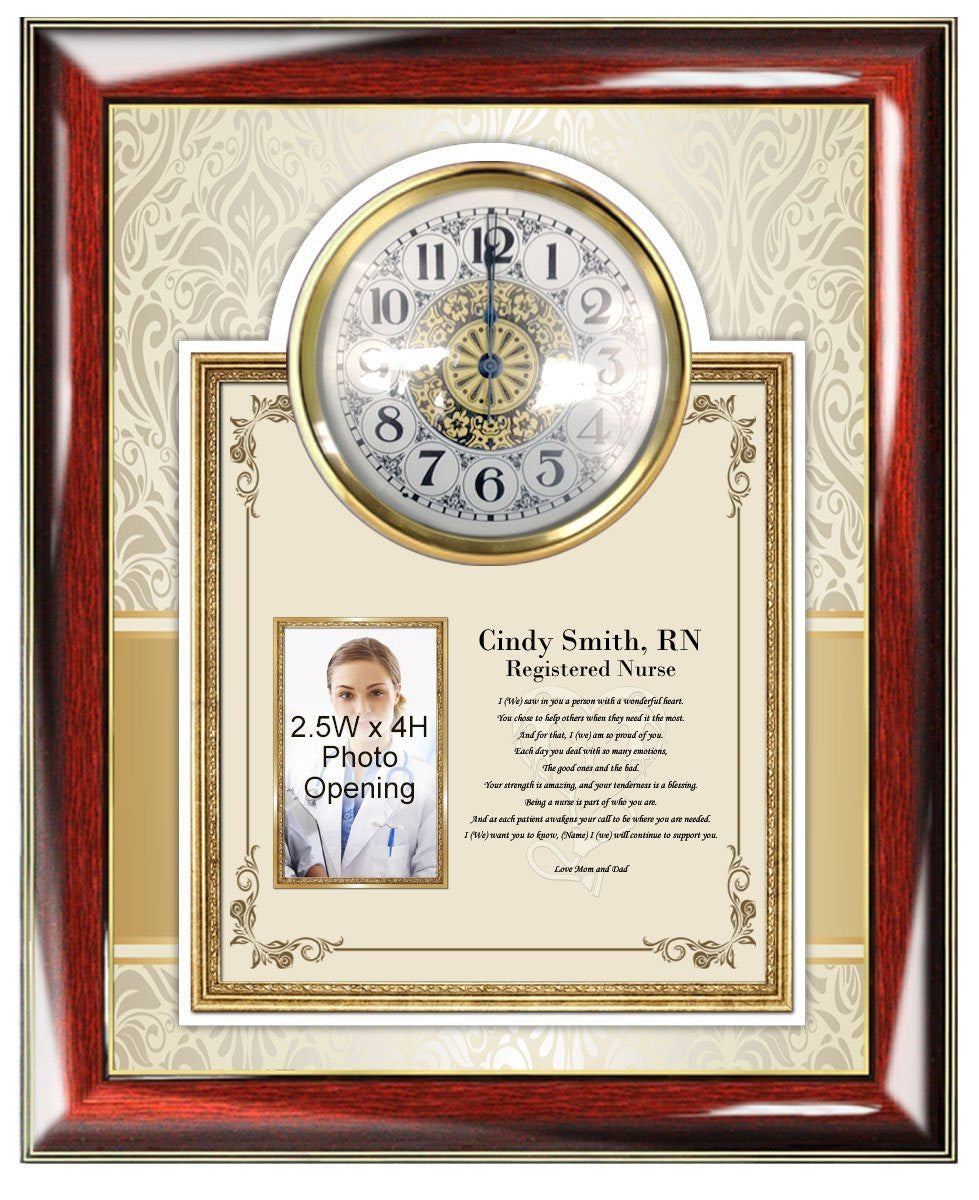 Nurse Poetry Clock Picture Frame Gift Present