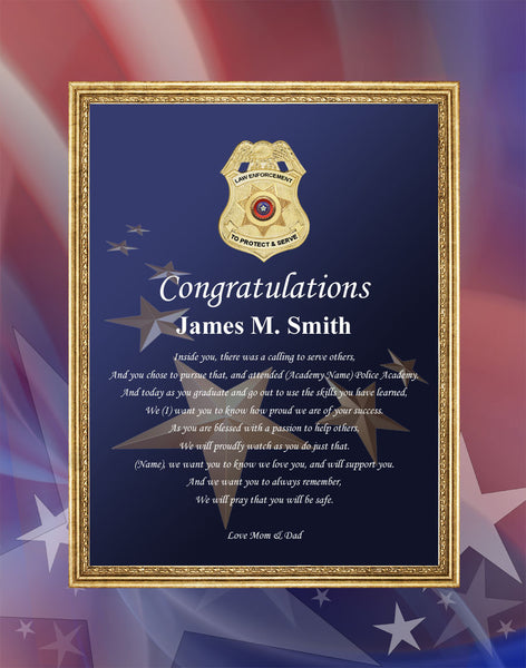 Sheriff And Police Academy Graduation Gift Plaque Law