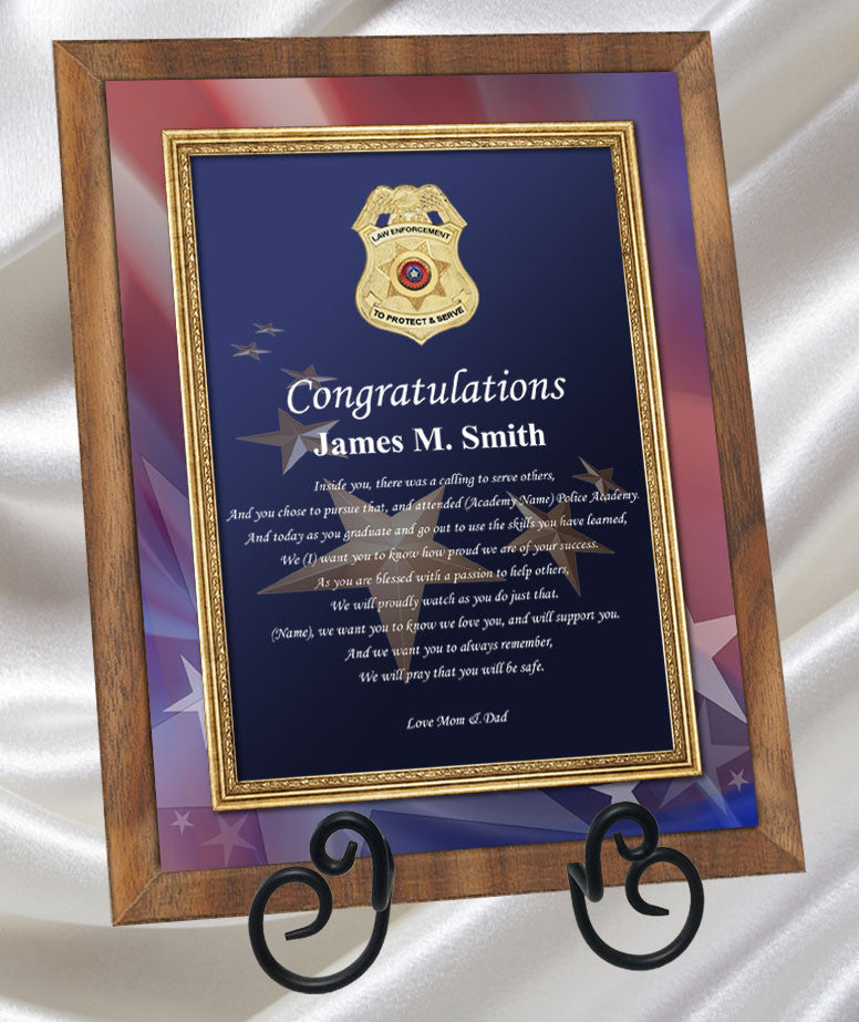 police academy graduation gifts and sheriff school present plaque
