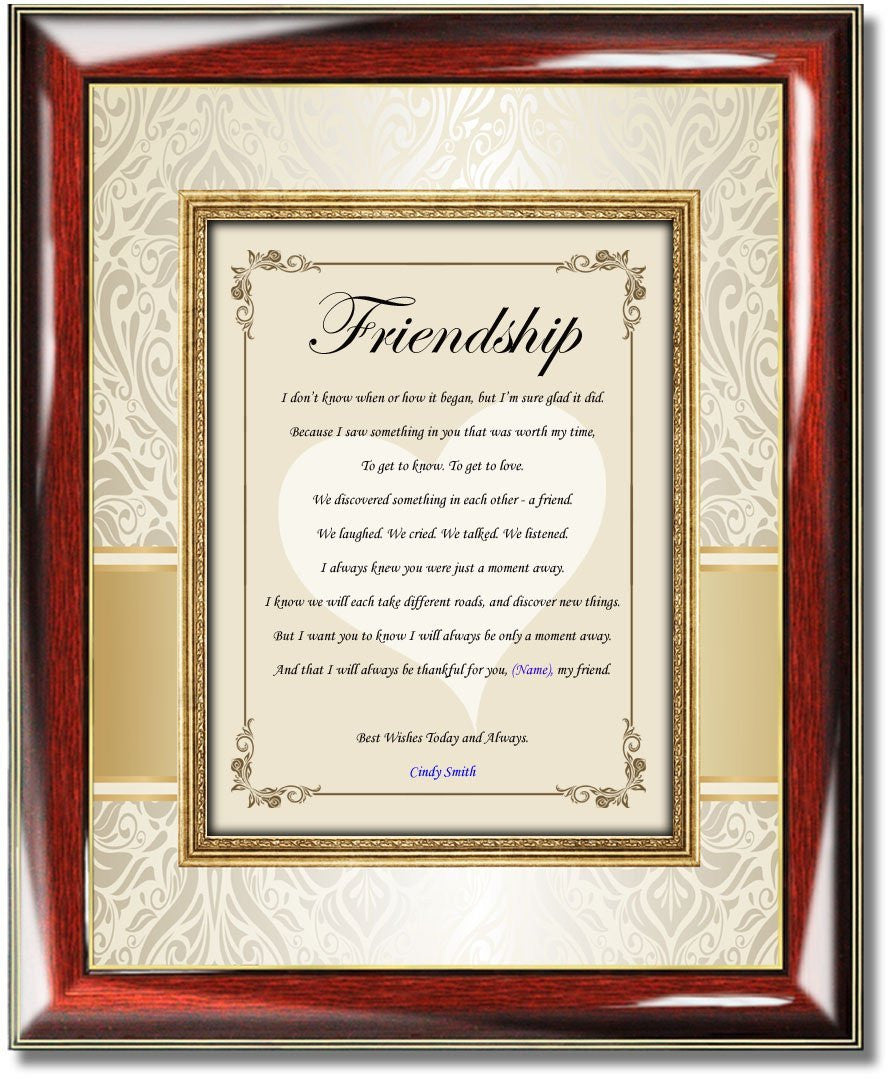 Personalized Poetry Friendship Gift Frame Picture