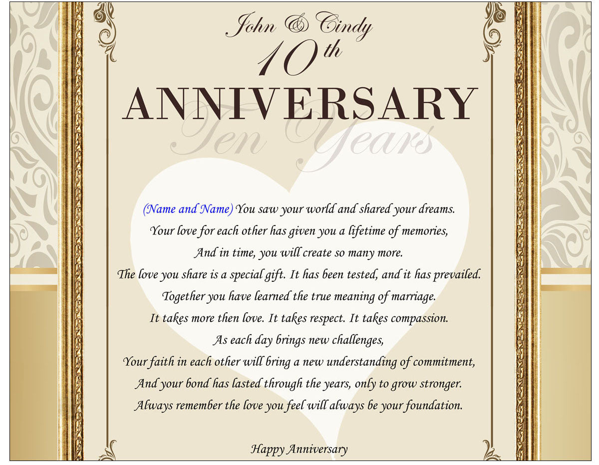 Friend Anniversary Personalized Poetry Picture Frame Gift