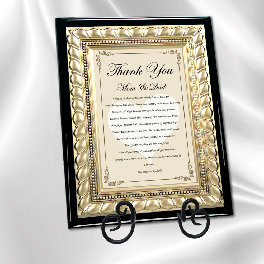 Wedding Thank You Father Mother Parents Gift From Bride Daughter Groom
