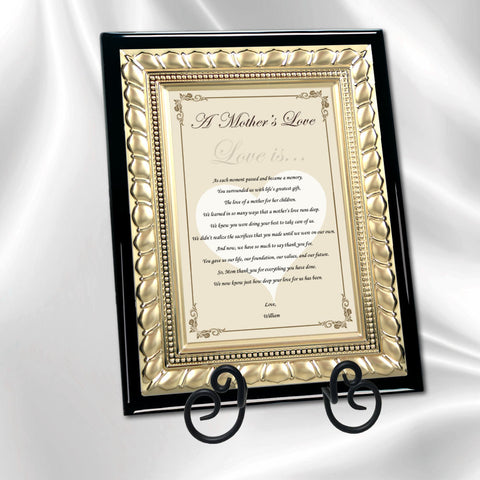 Mother Gift Desk Poem Plaque Gold Metal Border